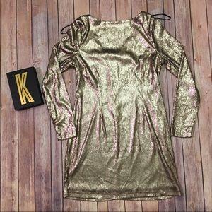 KARDASHIAN KOLLECTION Gold Sequin Dress Size L